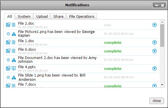 File Sharing Notification History Graphic