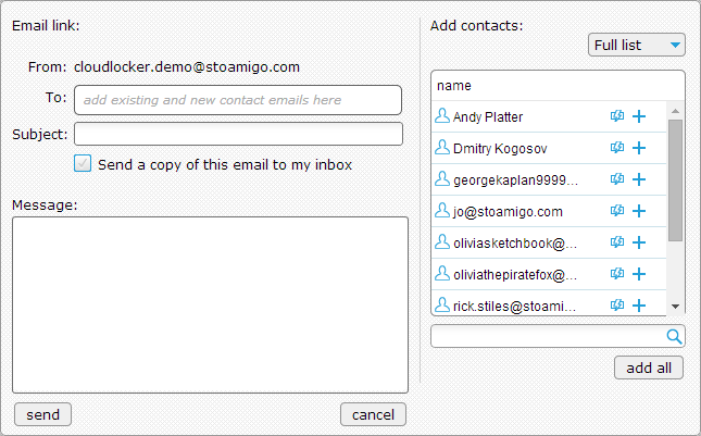 Emailing your link from StoAmigo graphic